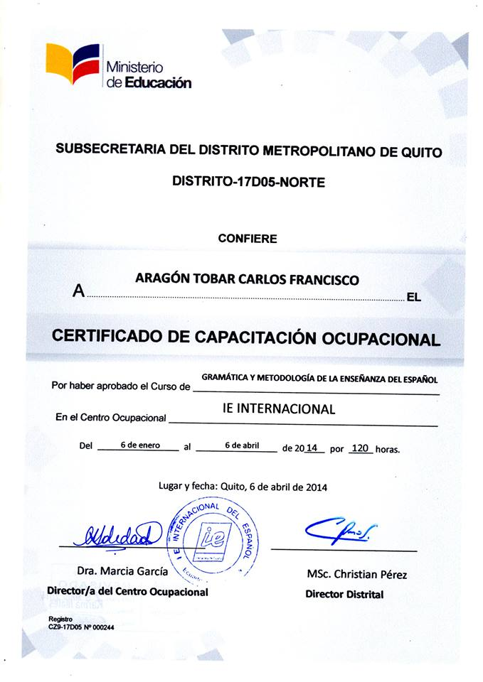 Cursos para profesores de espa ol instituto ie for Certificado ministerio del interior